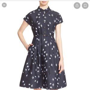 Katespade Swallow Print Cocktail shirt Dress